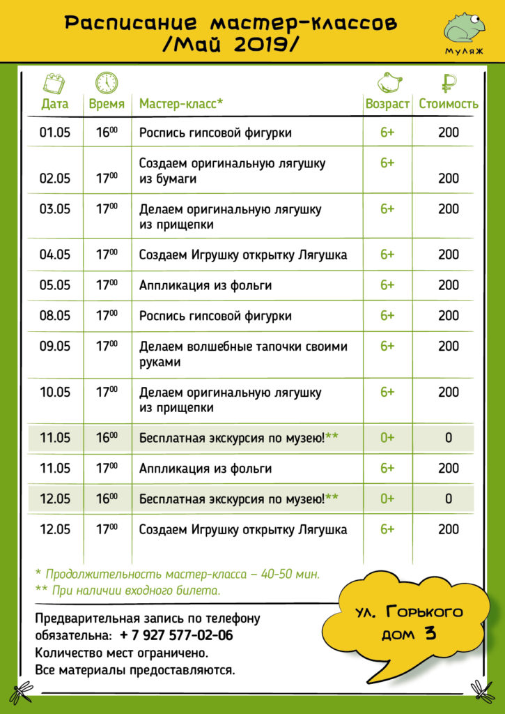 Расписание мастер-классов