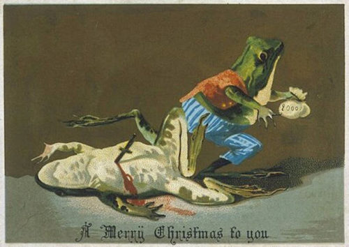 Самые необычные рождественские открытки с лягушками