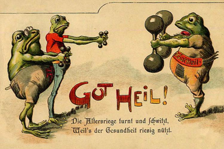 Винтажная реклама с лягушками. МУзей ЛЯгушек и Жаб